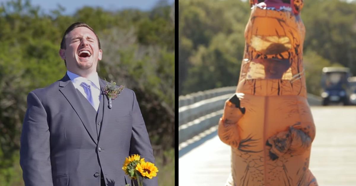 Best Video of Bride Surprising Groom as a T-Rex