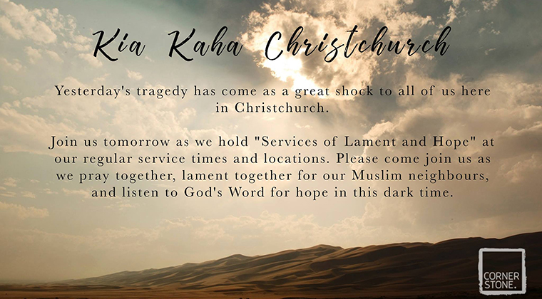 "A ""lament and hope"" service invitation from Cornerstone Church in Christchurch"