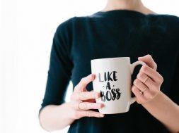 woman holding like a boss mug-2