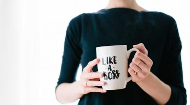 woman holding like a boss mug-2