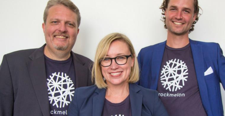 Rockmelon founders (front) Nicole Rogerson, (L) Stuart Waite and Alex Andredelaporte.